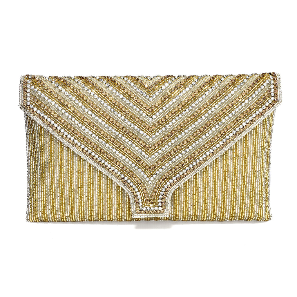 Henrika Gold Beaded Envelope Clutch