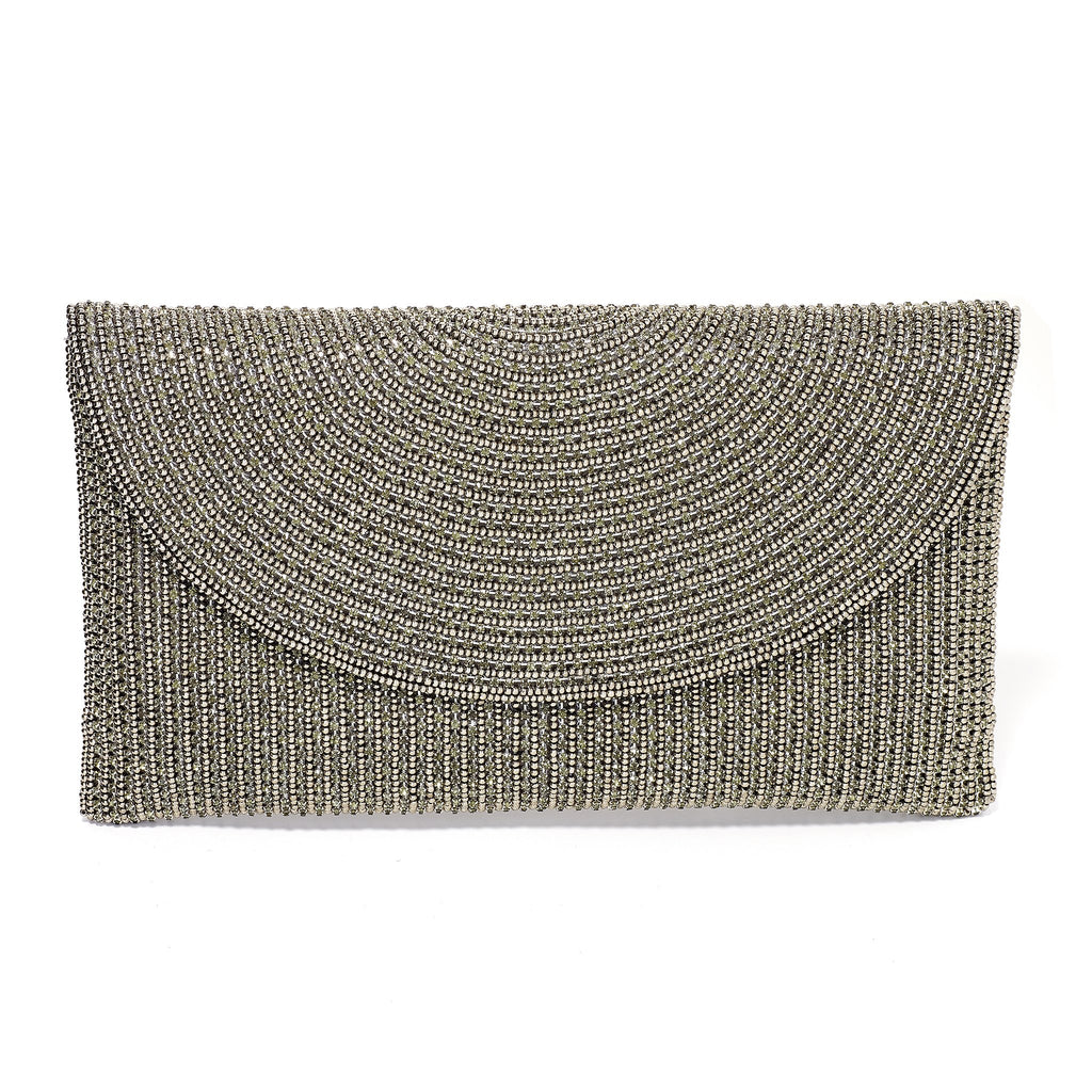 Rilla Gunmetal Beaded Envelope Clutch