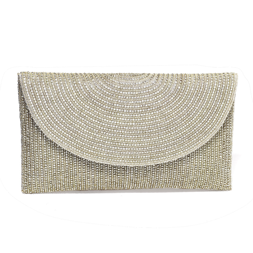 Hoa Silver Beaded Envelope Clutch