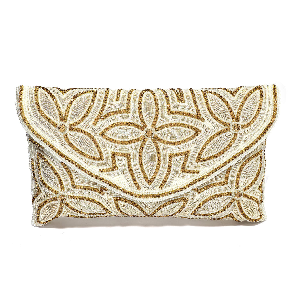 Filomena White Floral Envelope Clutch