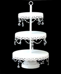 White 3 Tier Cupcake Stand with  clear acrylic crystals