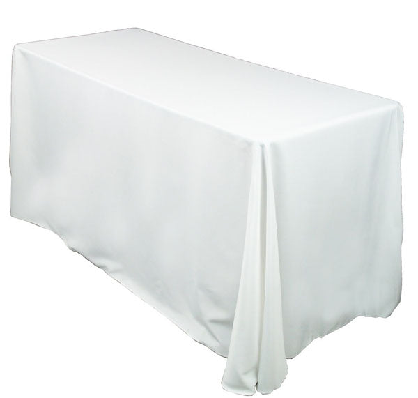 "White 90""x154"" Linen for 8' Table"