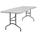 "Rectangular Table 8' x 30""  seats 8 comfortably without using the ends"