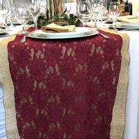 Burgundy  Lace Runner `18""