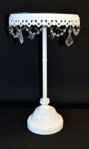 "18"" Tall Cake Stand With White Round Hanging Crystals"