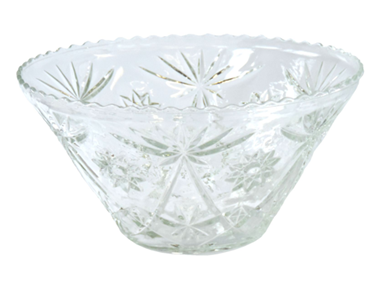 Glass Punch Bowl Cut Crystal 14""