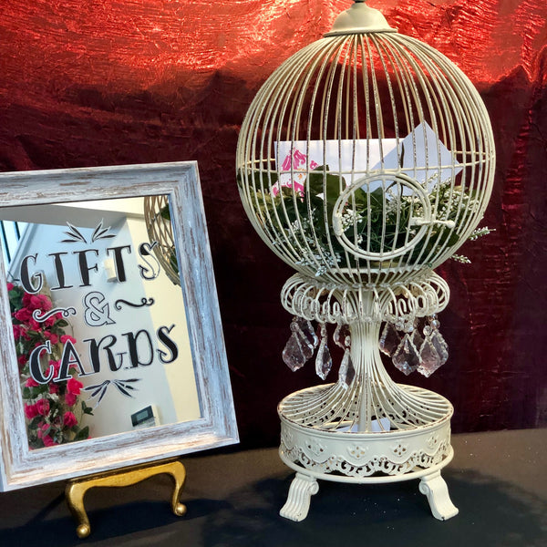 "Bird cage with acrylic crystals approximately 32"" tall. (  Sign not included)"