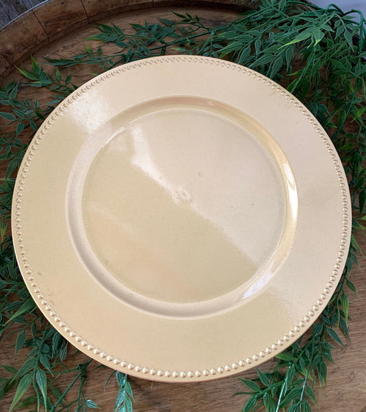 Antique Gold Beaded Charger Plate