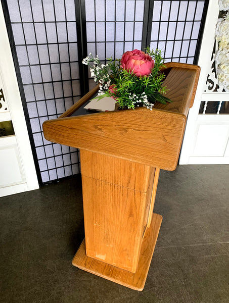 Light Brown Wood Podium