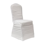 Rouched White Chair Cover