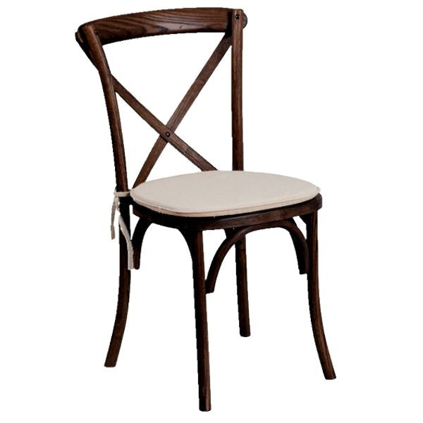 Crossback Vineyard chair ivory cushion.