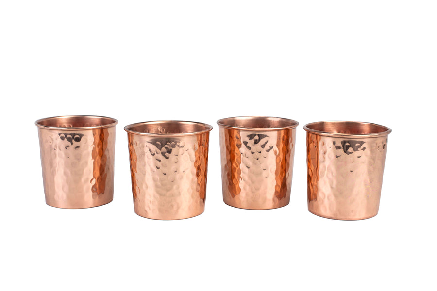 Hammered Copper Tumbler - Set of 4
