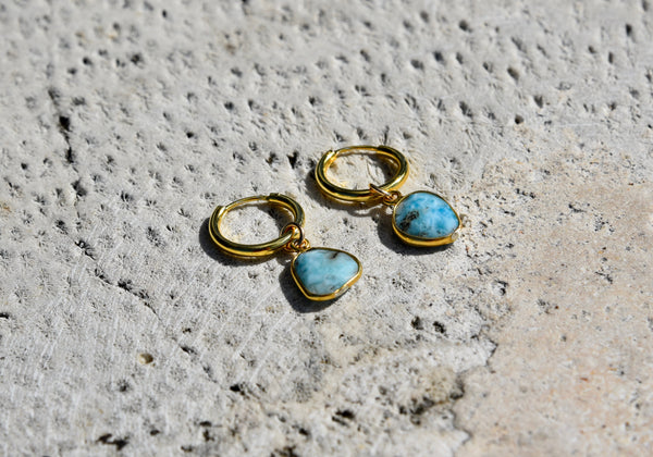 Larimar Hoop Earrings 14k