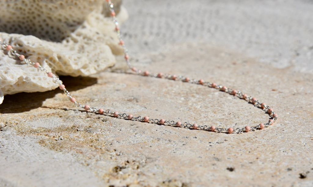 Pink Coral layer necklace sterling silver