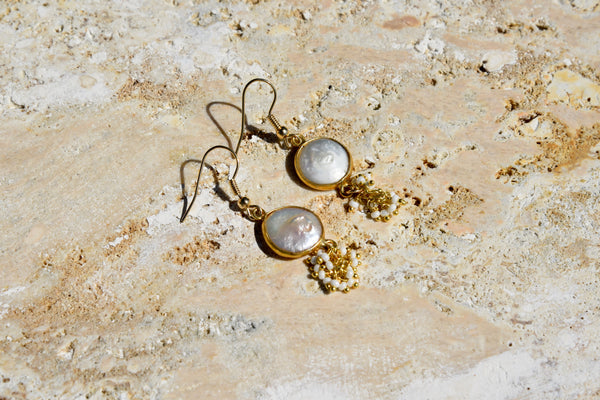 Pearl Dangle Earrings 14k