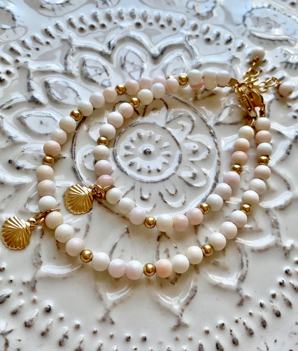 Mother Daughter Sea Shell Bracelet Set