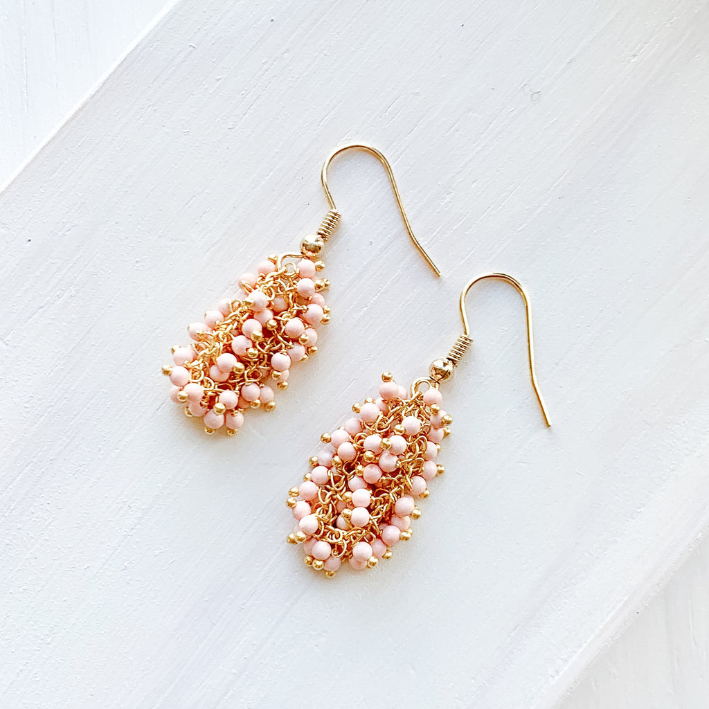 Pink Coral Dangle Earrings