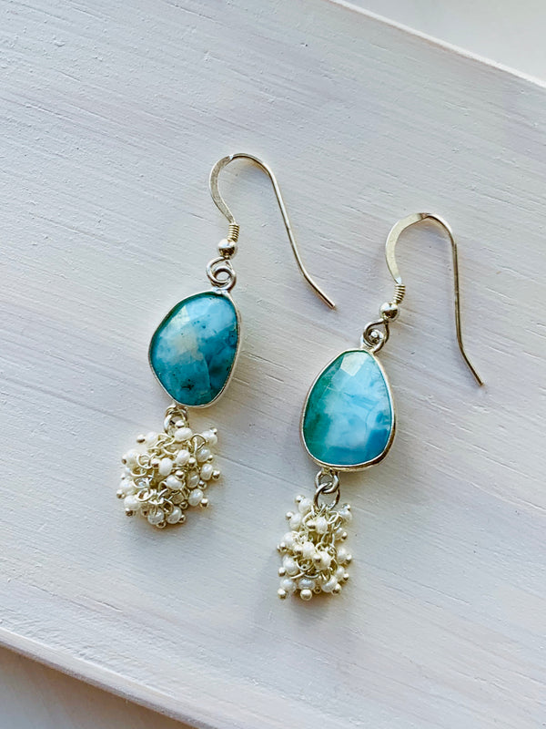 Larimar & Pearl Dangle Earrings