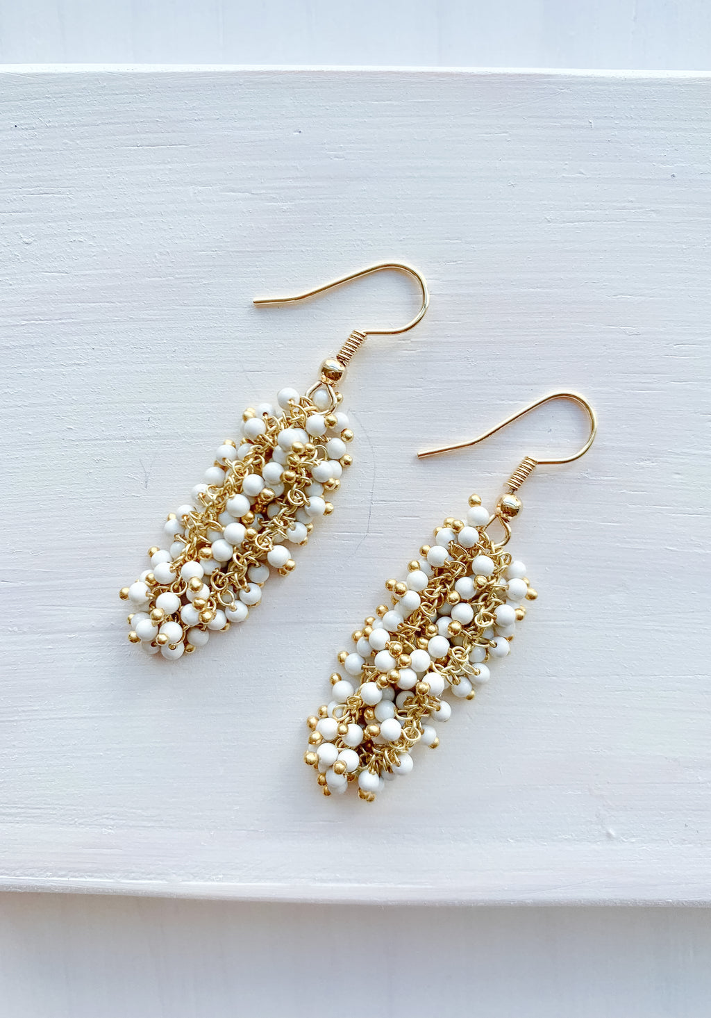 White Coral Dangle Earrings 14k