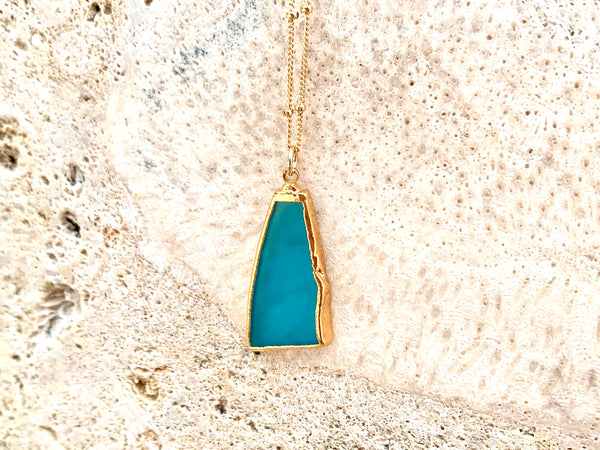Blue Ocean Sea Glass Necklace 14k