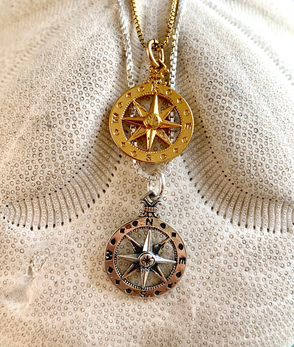 Ocean Wanderer Compass Necklace