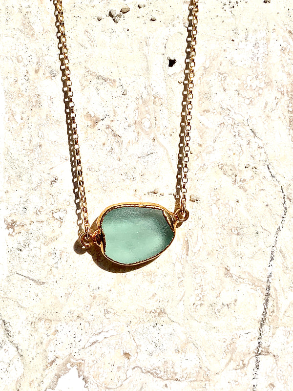 Teal Sea Glass Connector Necklace