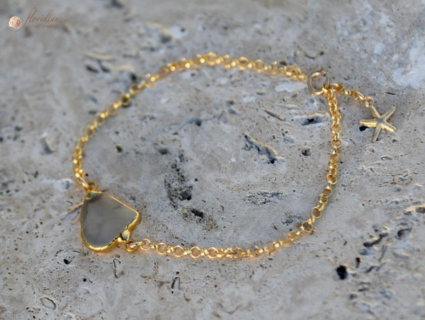 Golden Sea Glass Bracelet 14k
