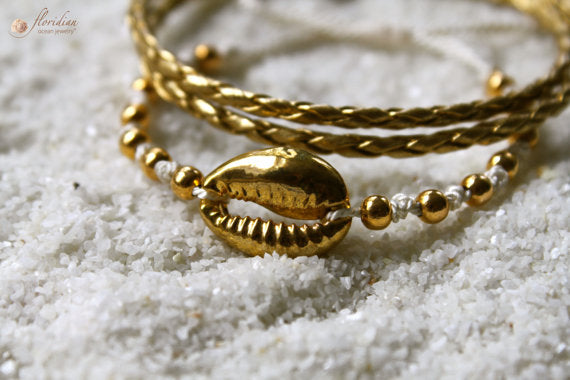Golden Cowrie Bracelet Set