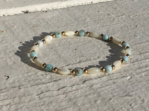 Larimar & Mother of Pearl Beaded Bracelet 14k