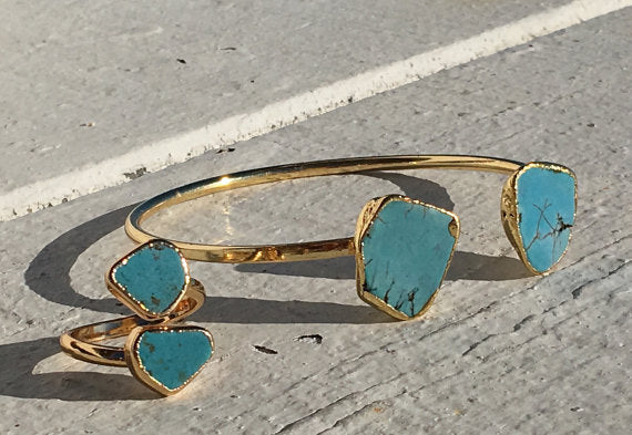 Turquoise Ocean Bangle & Ring 14k