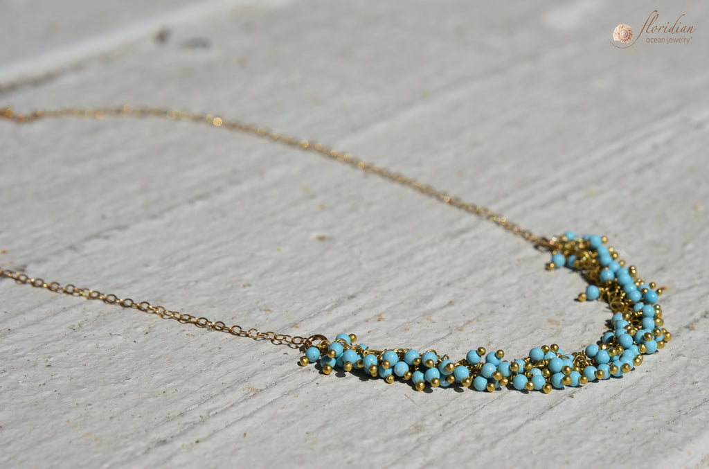 Turquoise Ocean Drop Necklace 14k