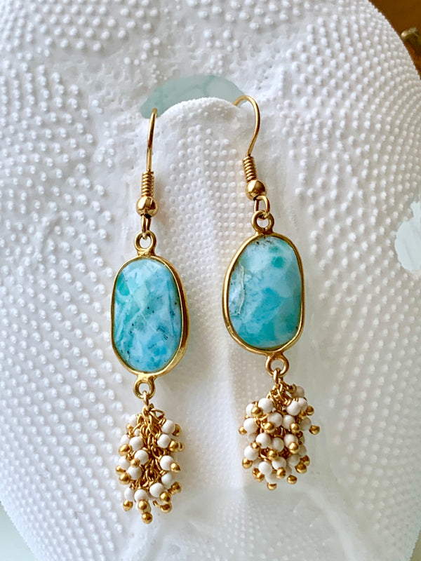 Larimar Ocean Earrings 14k