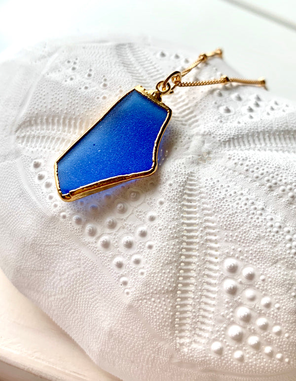 Deep Blue Sea Glass Necklace 14k