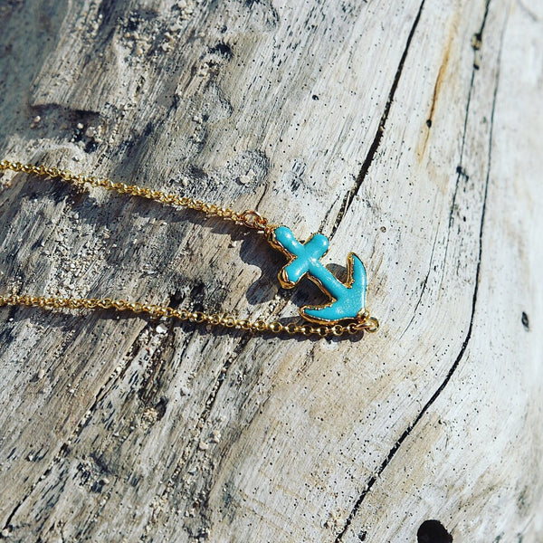 Turquoise Anchor Necklace 24k