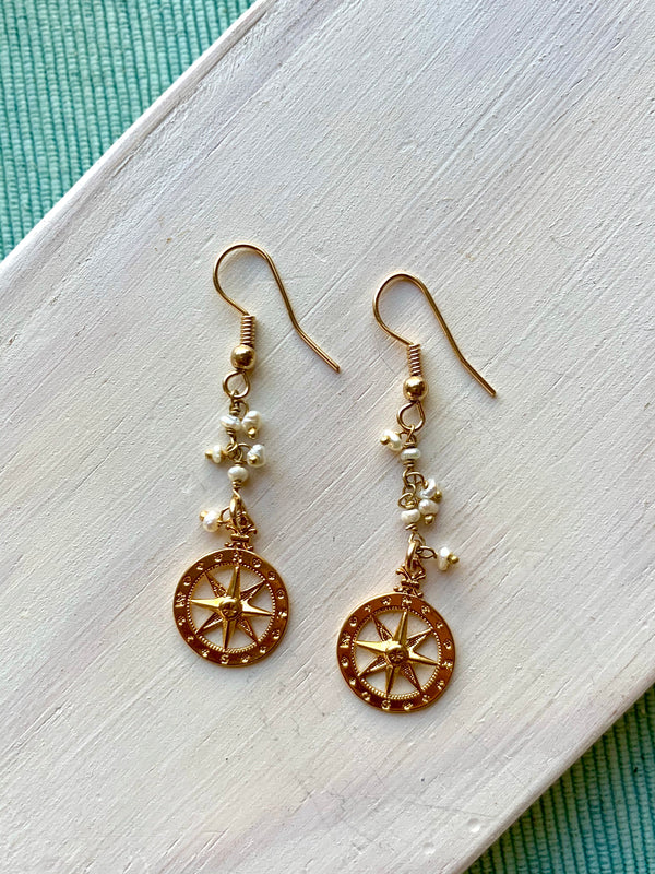 Ocean Compass Earrings 14k