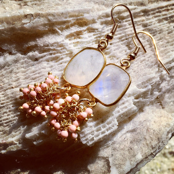 Moonstone & Pink Coral Earrings