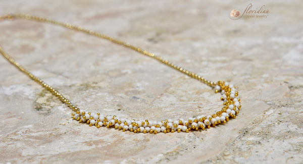 White Coral Necklace 14k