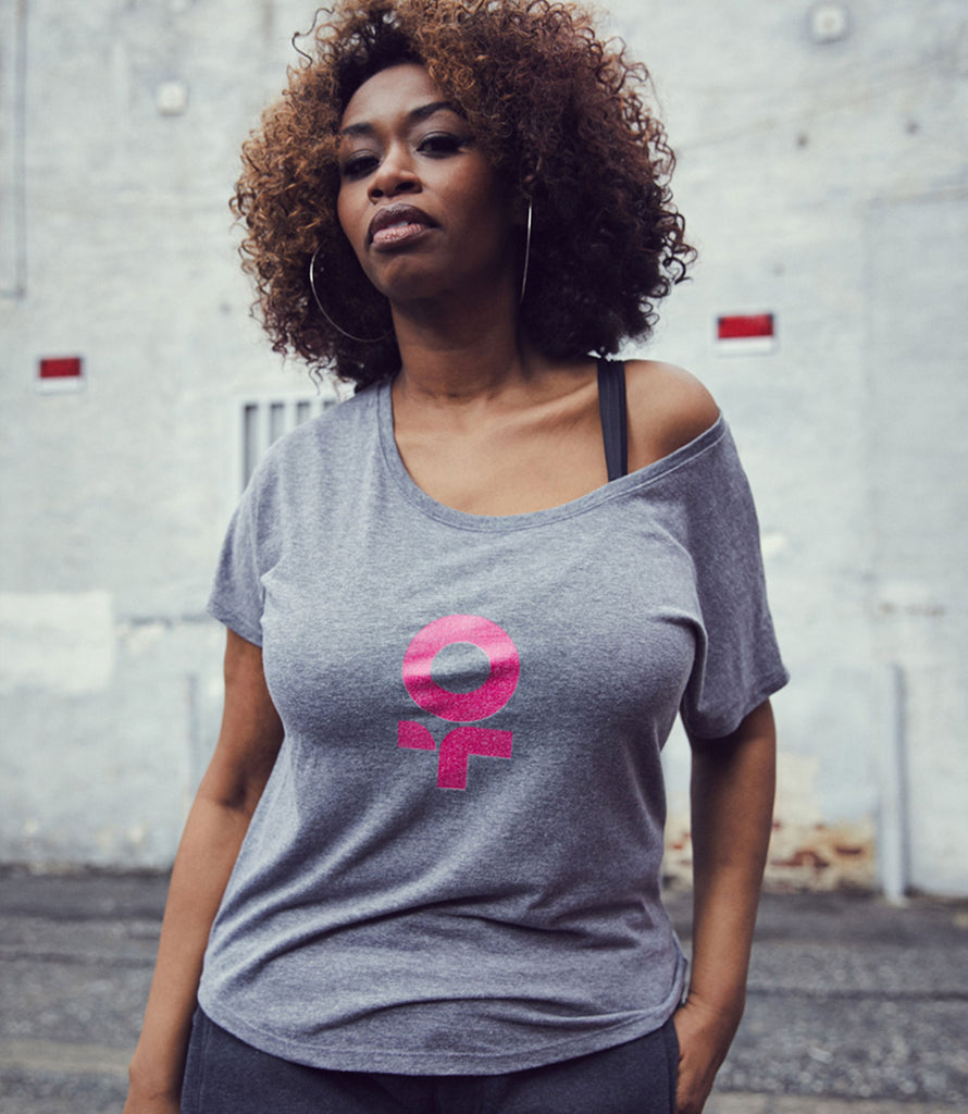 F*Revolution   Off Shoulder Tee - Pink Female Mark Logo