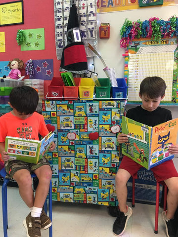 Kids reading and Pete curtains!