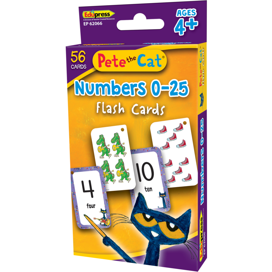 Pete the Cat Numbers 0-25 Flash Cards