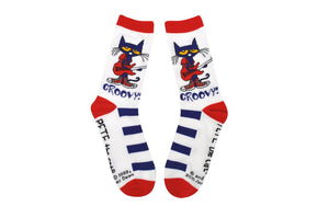 NEW! Pete the Cat White Stripe Adult Crew Socks
