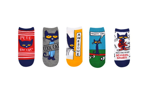 Pete the Cat Adult Socks- 5 Pack Red Stripe Set