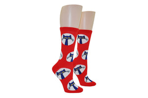 BEST SELLER! Red and White Polka Dot Adult Crew Socks