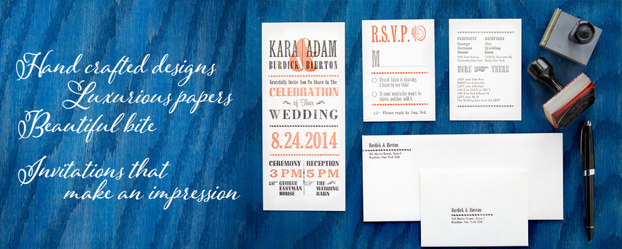 Hand Crafted Designs, Luxurious papers, Beautiful Bite. Letterpress Wedding Invitations that make an impression.