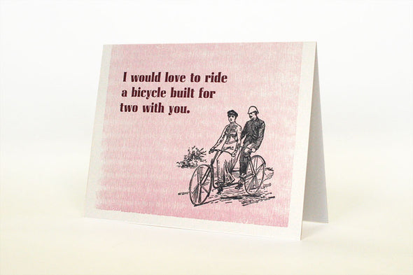 Bicycle Built for Two With You Letterpress Greeting Card