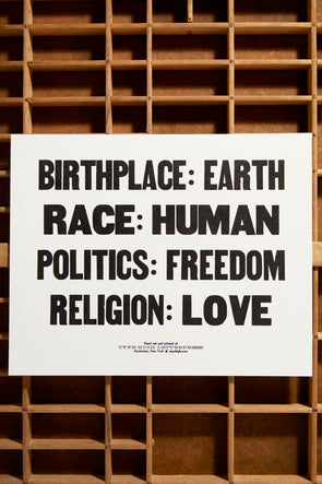 Birthplace : Earth Small Letterpress Poster