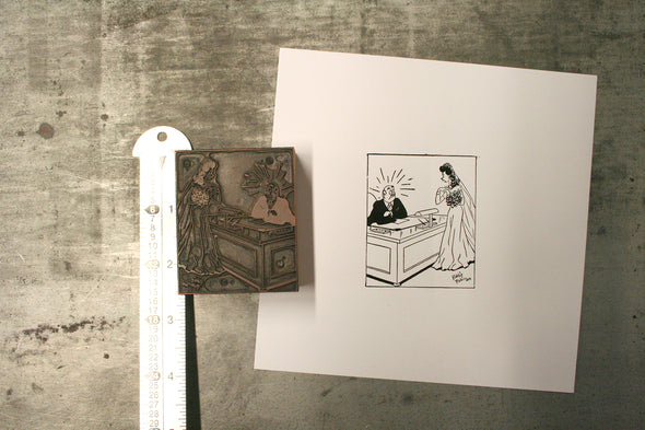 Bride Cartoon Letterpress Cut