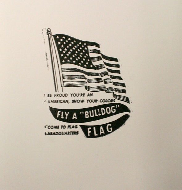 Bull Dog Flags Letterpress Advertising Cut