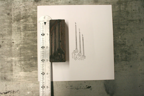 Three Candle Letterpress Cut