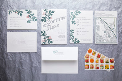 Three Color Letterpress Wedding Invitation